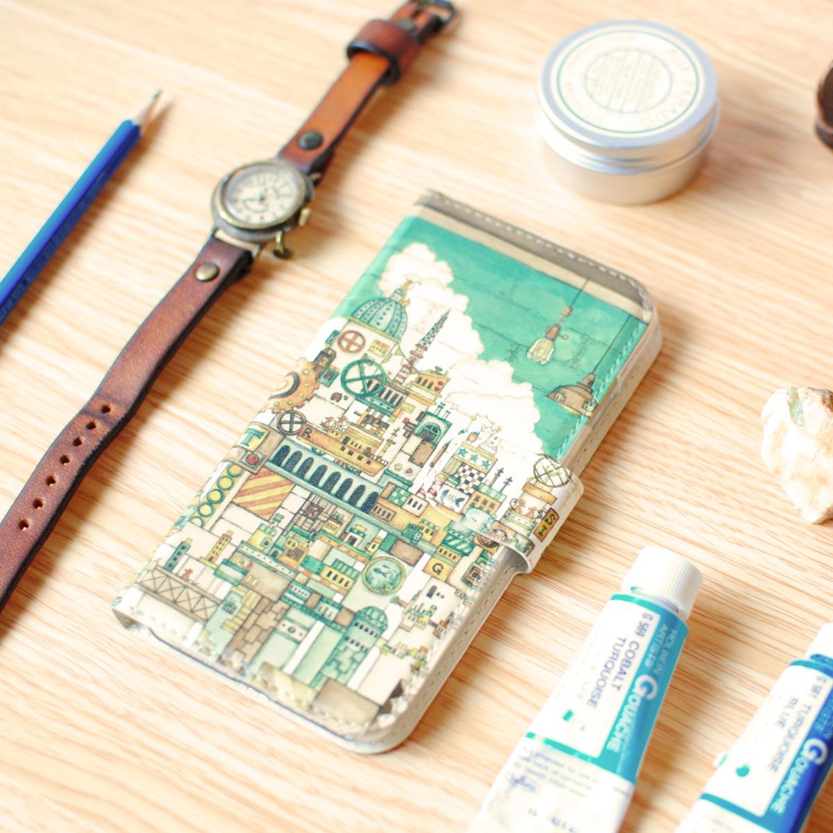iPhoneSE/6s/7/8/X/Xs 手帳型iPhoneケース「ネズミの王国」【内側デザイン可!】