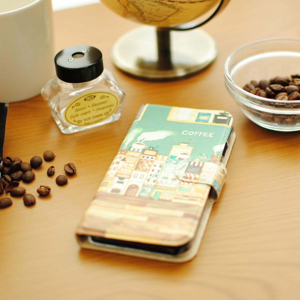 iPhoneSE/6s/7/8/X/Xs 手帳型iPhoneケース「コーヒーの街」【内側デザイン可!】