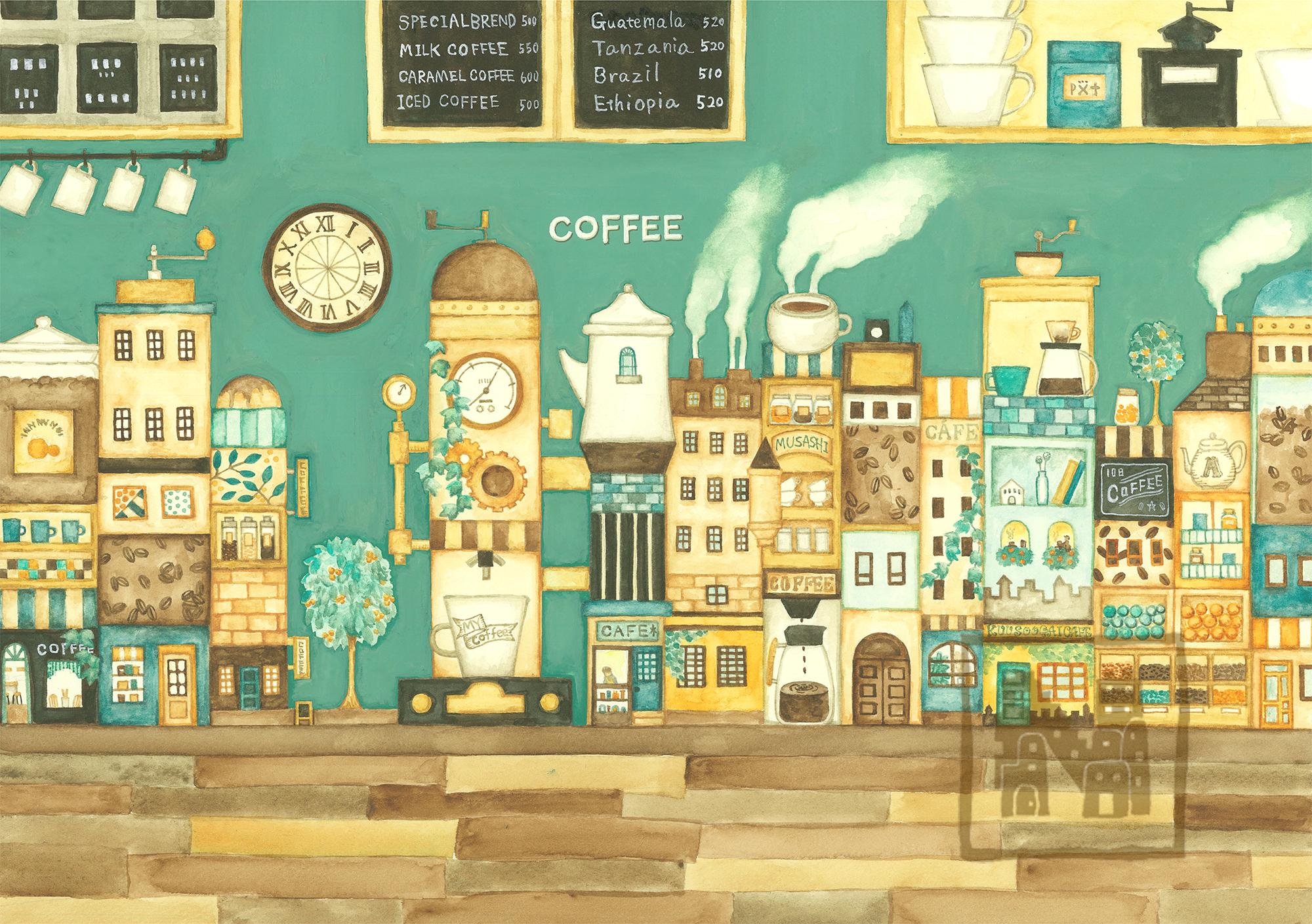 【原画】カフェの奥のコーヒーの街