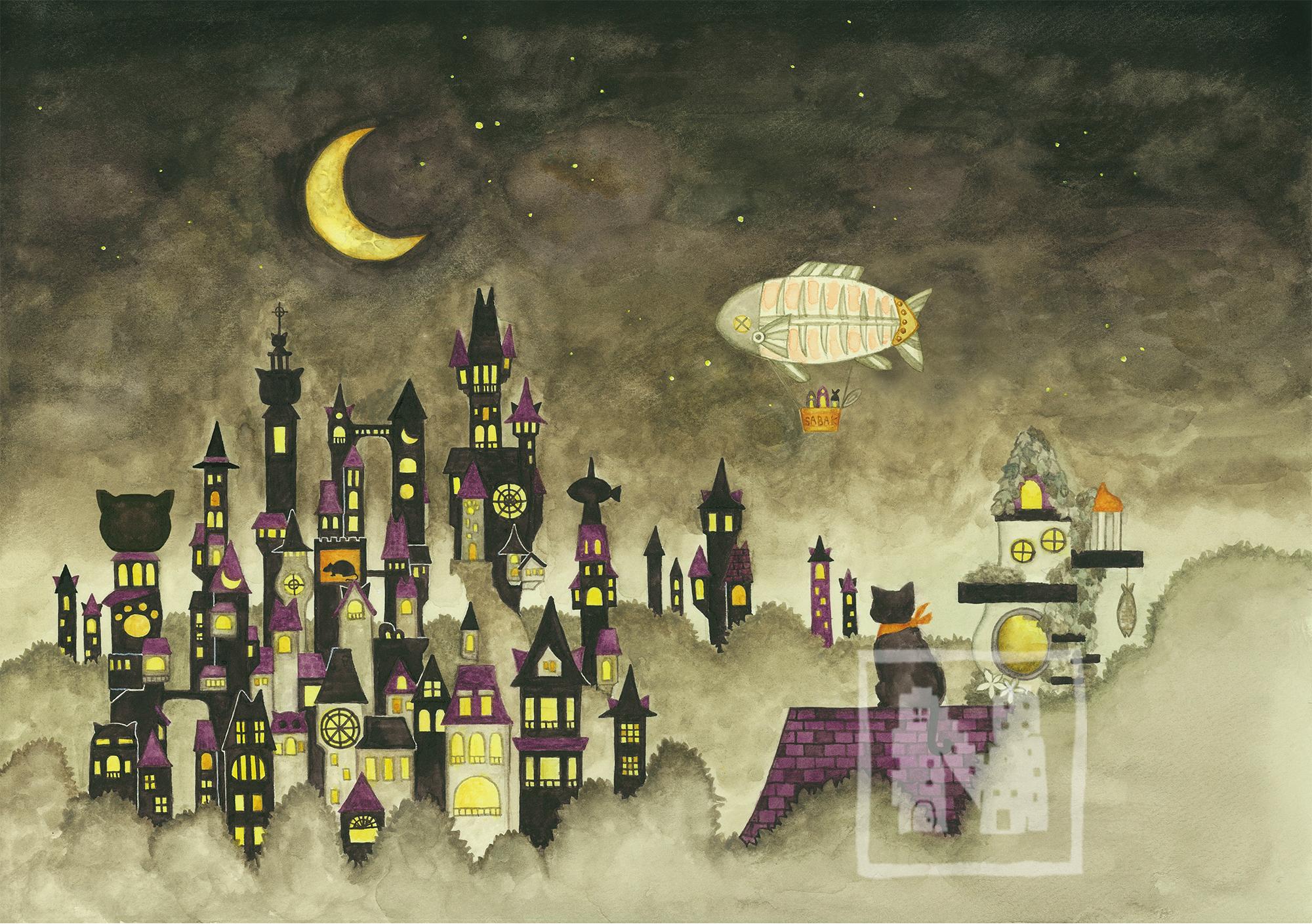 【原画】黒猫と三日月の街