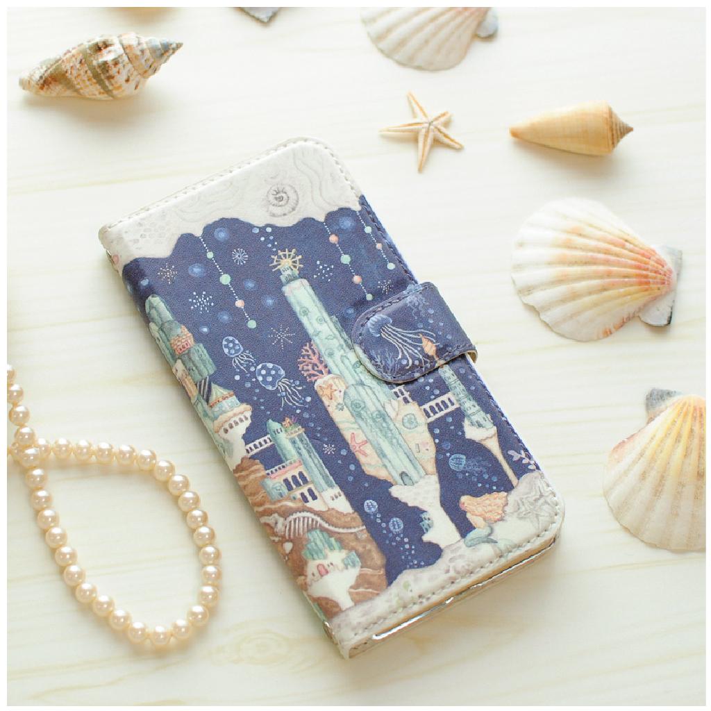 iPhoneSE/6s/7/8/X/Xs 手帳型iPhoneケース「海月とアクアマリンの楽園」【内側デザイン可!】