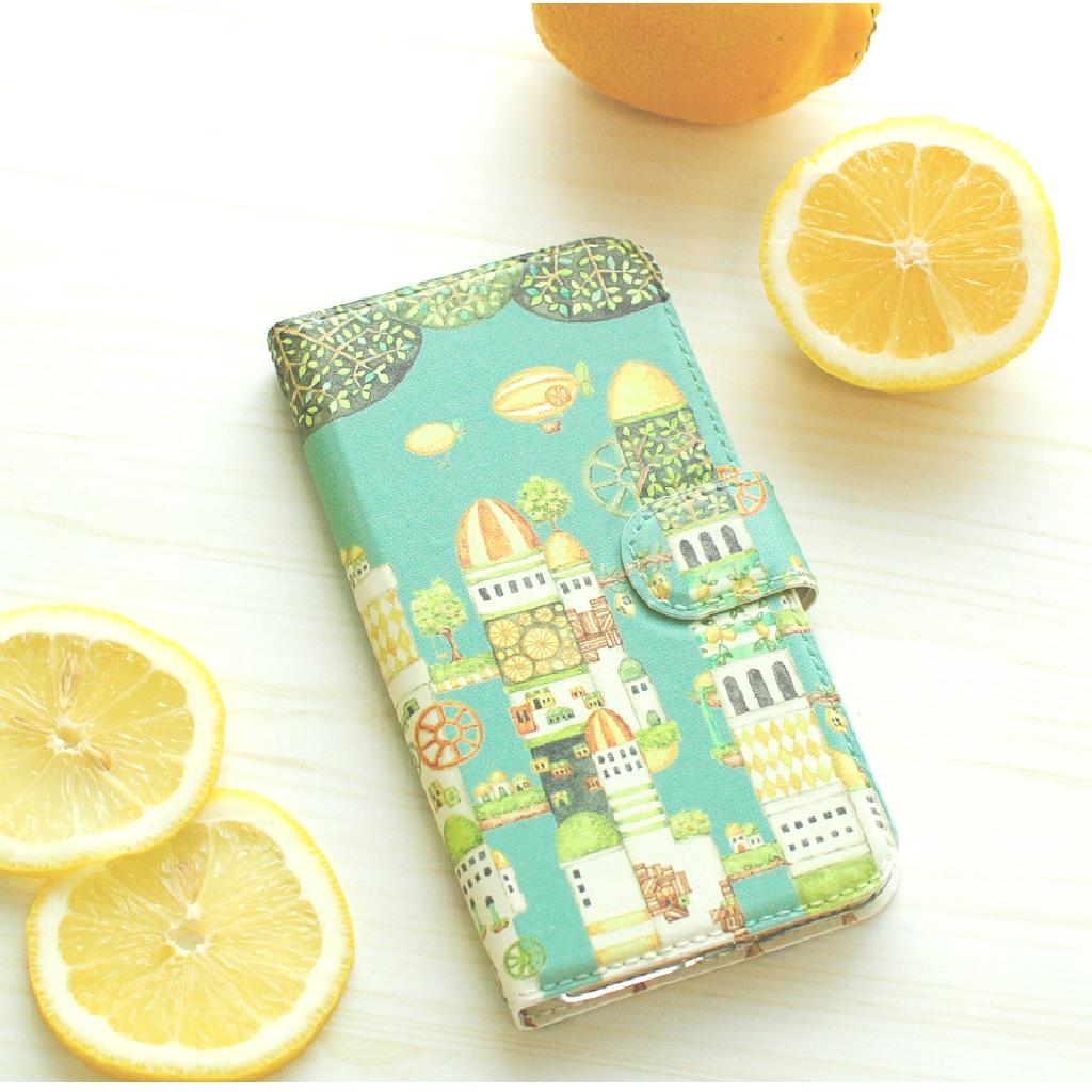iPhoneSE/6s/7/8/X/Xs 手帳型iPhoneケース「レモンの都 ターコイズグリーン」【内側デザイン可!】