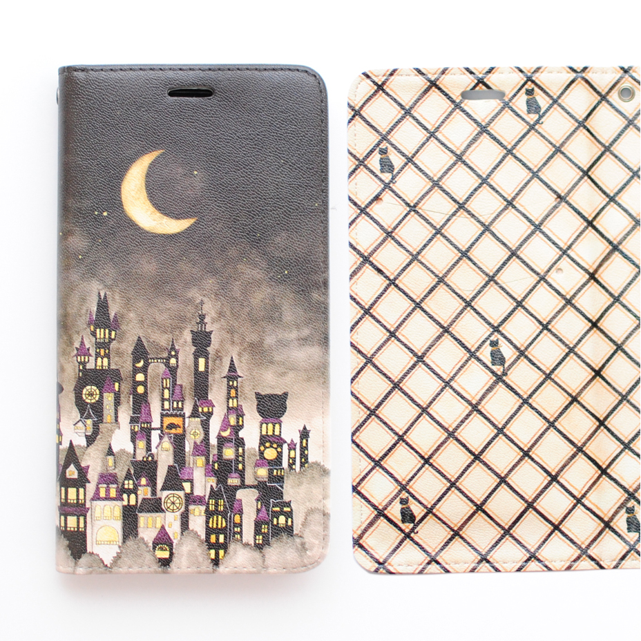 「黒猫と三日月の街」iPhone11・11pro・XR・MAX手帳型スマホケース【内側デザイン入り、ベルトなし】
