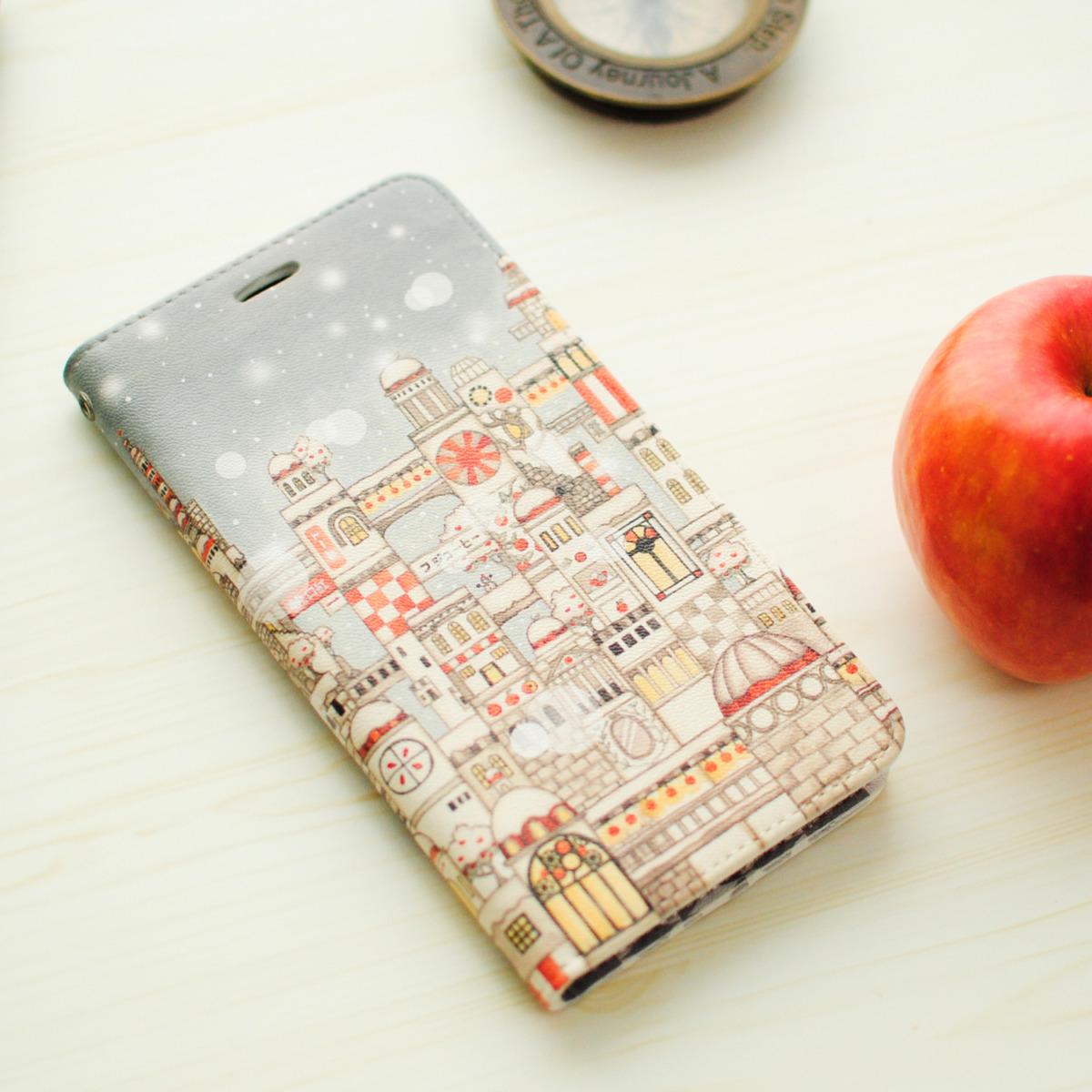 「紅リンゴと白雪」iPhone11・11pro・XR・MAX手帳型スマホケース【内側デザイン入り、ベルトなし】