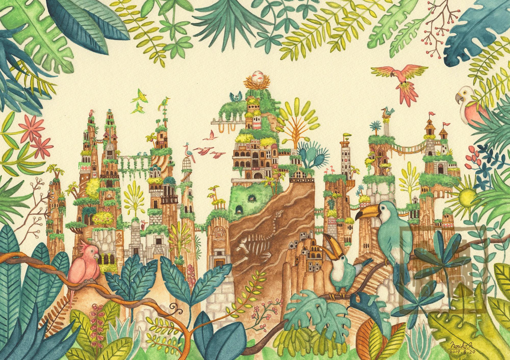 【原画】ジャングルの奥の鳥の楽園
