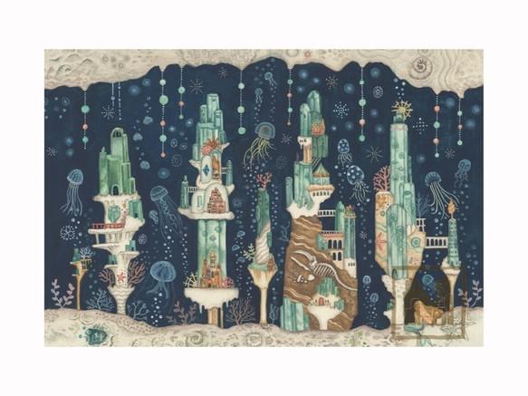 ポストカード4枚セット9「海月とアクアマリンの楽園」