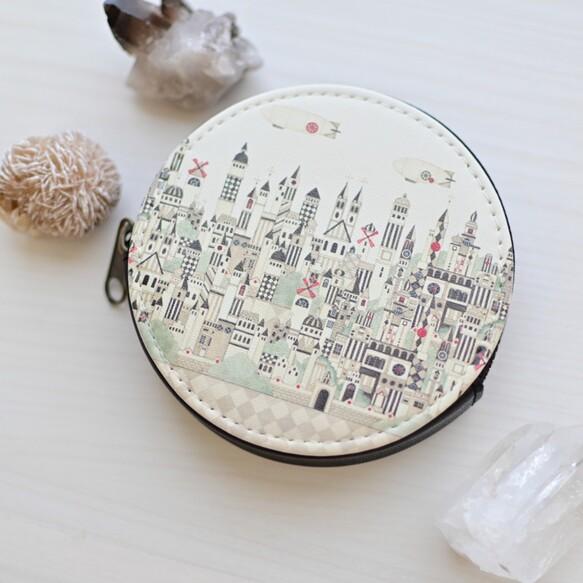 ミニコインケース「モノクロームの街」丸型ポーチ