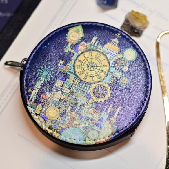ミニコインケース「時計の街」丸型ポーチ