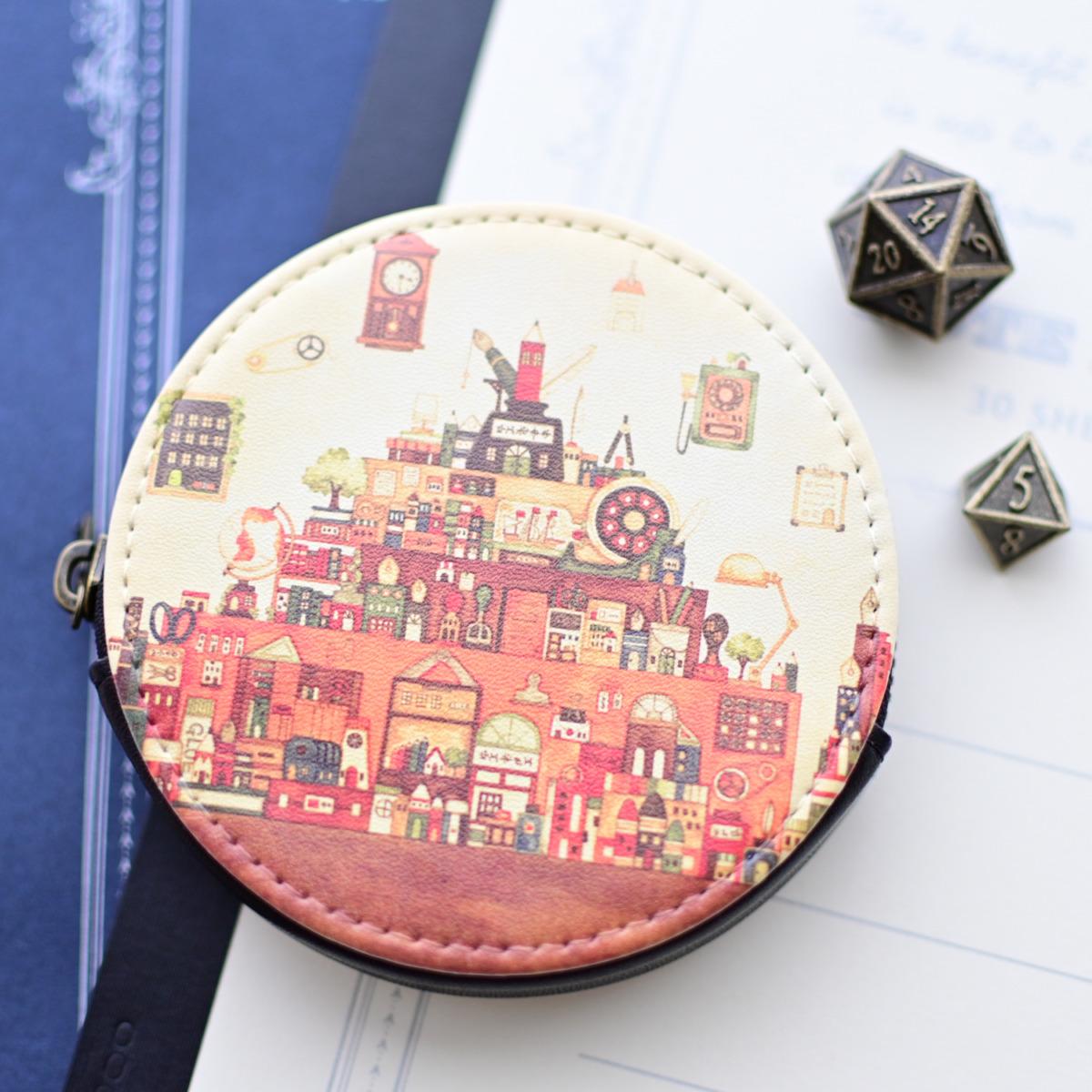 ミニコインケース「文房具の王国」丸型ポーチ